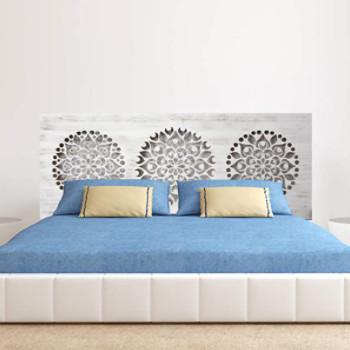 cabecero de cama de madera con mandala decorativo tallado a laser: Mandala calado.