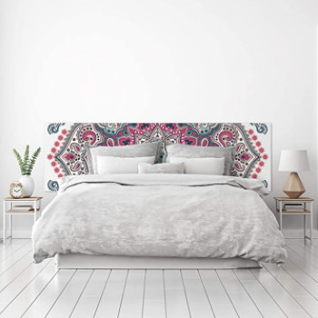 Cabecero mandala grande con ilustraciones rosa blanco y gris.