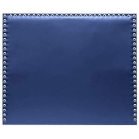 cabecero de cama azul con tachuelas